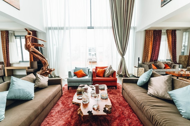 living room with designer cushions