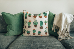 white and green designer cushions