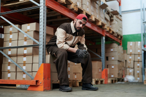 Male worker inside a 3PL warehouse