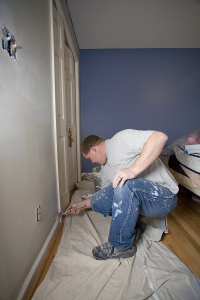 Professional painter while working